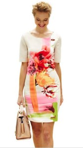 watercolor dress pink sheath front