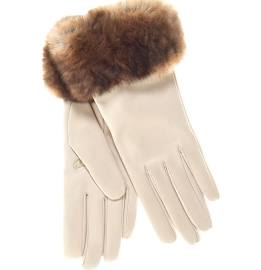 cream leather gloves with fur