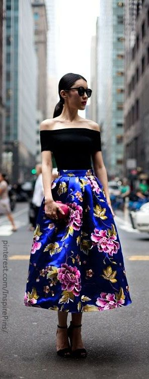 off the shoulder top and maxi skirt