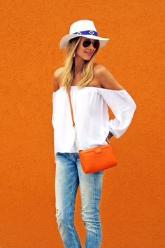 off the shoulder white top with denim