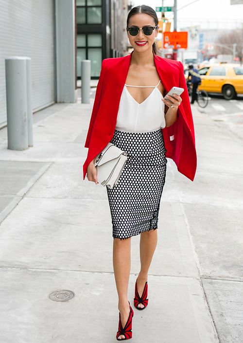 women's office look black and white print skirt with red blazer