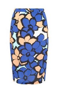 print floral skirt in blue
