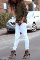print high heels white jeans animal print strappy shoe