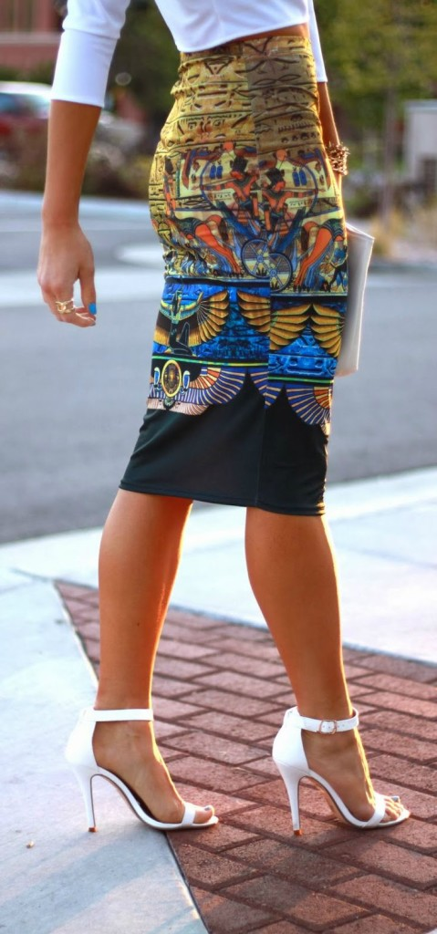print pencil skirt with white blouse
