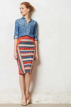 print skirt midi by Anthropologie