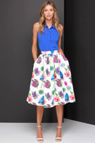 print skirt posie on over ivory floral skirt