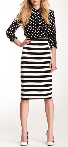 print striped skirt and polka dot blouse