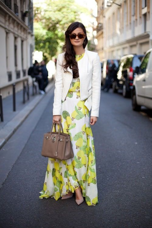 summer cropped jacket with maxi dress