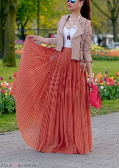 summer jacket maxi dress in coral with beige leather coat