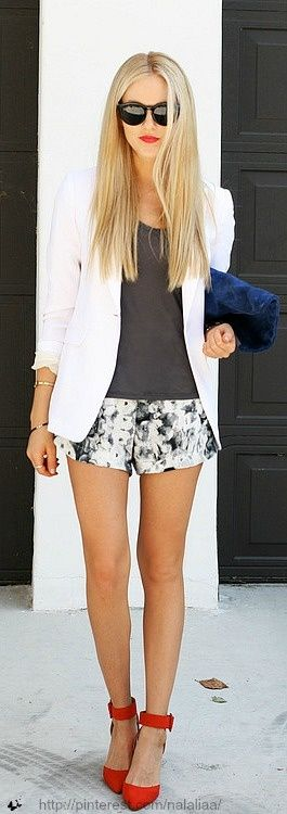 summer jacket with print shorts