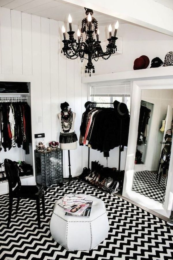 Make your closet look like a chic boutique divine style - Black and white dressing room ...
