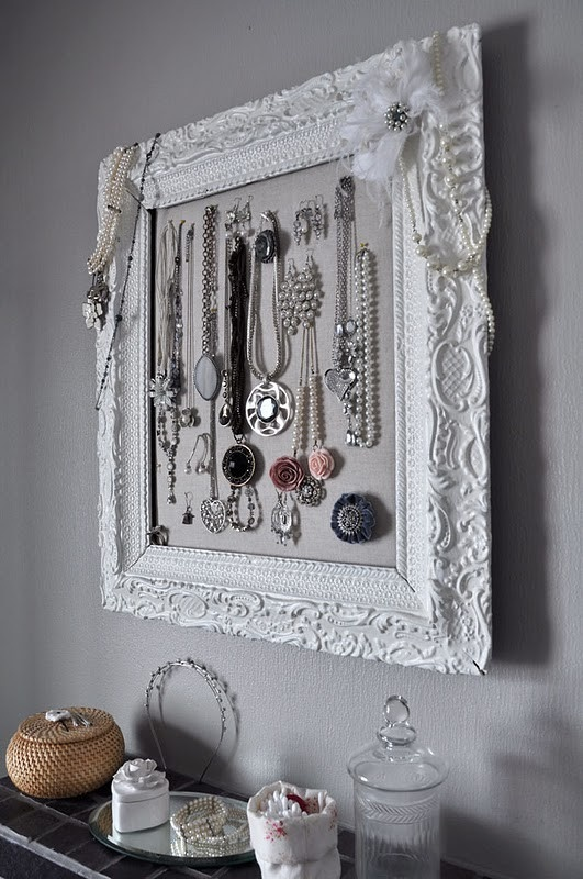 jewelry display in picture frame