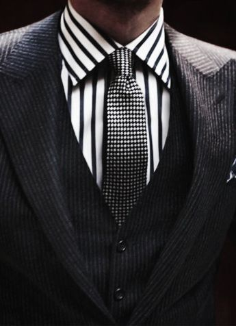 men's suit with striped shirt