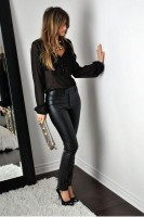 all black outfit sheer and leather