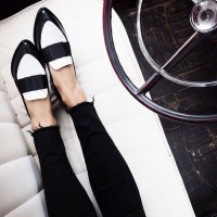 black and white loafer