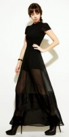 black sheer panel dress