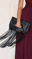 fringe clutch and maroon dress