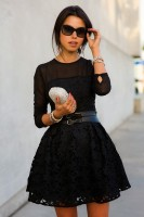 black outfit lace dress with sheer