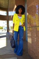 flared jeans with yellow jacket