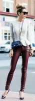 casual chic burgundy leather pants