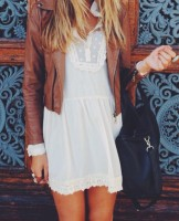 casual chic leather jacket and white lace dress