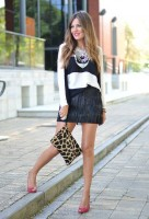 fringe mini skirt and animal print bag