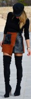 passe style leather and suede mini skirt with over the knee boots