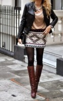 passe style mini skirt and knee high boots