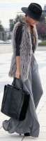 gray maxi skirt and fur vest