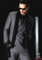men's black draped scarf look by Armani