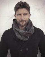men's chunky knit neck scarf with double breasted sweater