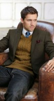 men's chunky knit sweater and blazer