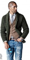 men's chunky sweater olive cardigan and vest