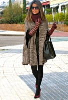 plaid cape coat and burgundy gloves