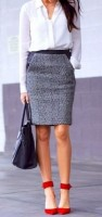 women's work outfit black and white tweed skirt with red pumps