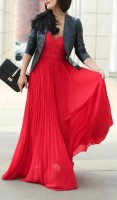 Valentine's Day maxi dress in red with black leather jacket