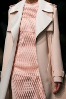 spring 16 balenciaga tan trench coat over pale pink dress