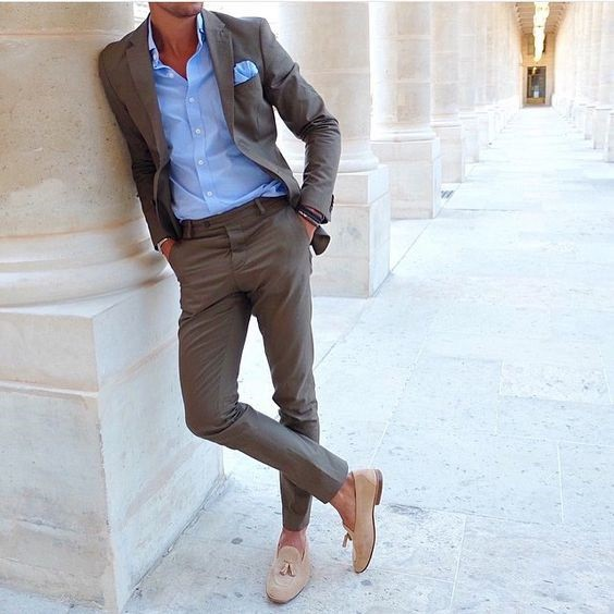 How to Dress for a Night On The Town, brown suit, tan tassel loafers