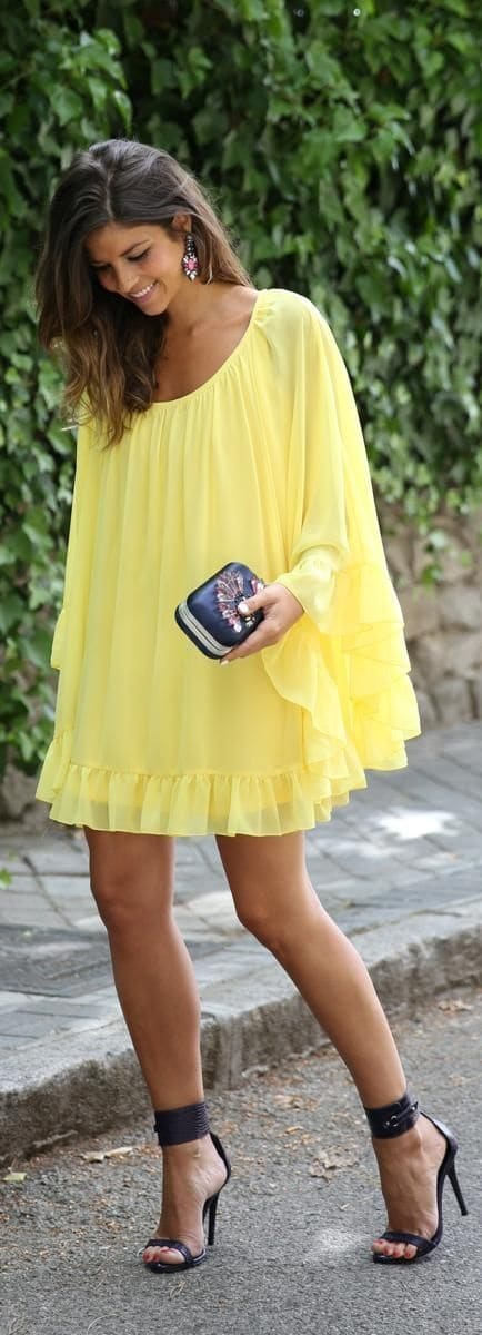 Labor Day Style...Miami look, flowy chiffon yellow sundress and black sandals