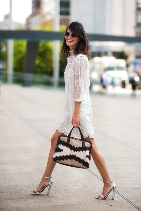 Labor Day Style...NYC outfit, lace sundress and block high heels