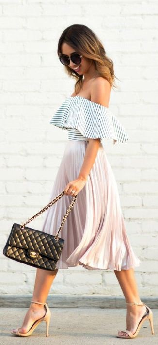 Labor Day Style...Napa Sonoma outfit, pleated skirt, striped off the shoulder top