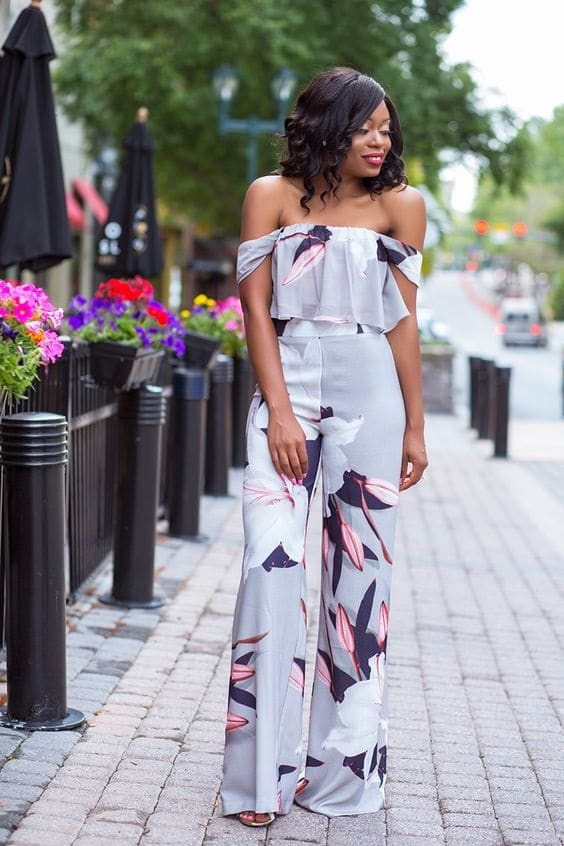 What to Wear to a Summer Soiree, sunset dinner, floral off the shoulder top in gray, floral pants