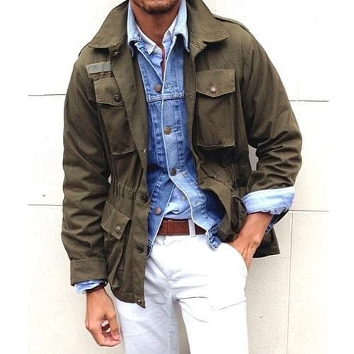 how to wear white post labor day, men's white jeans, jean jacket, olive field jacket
