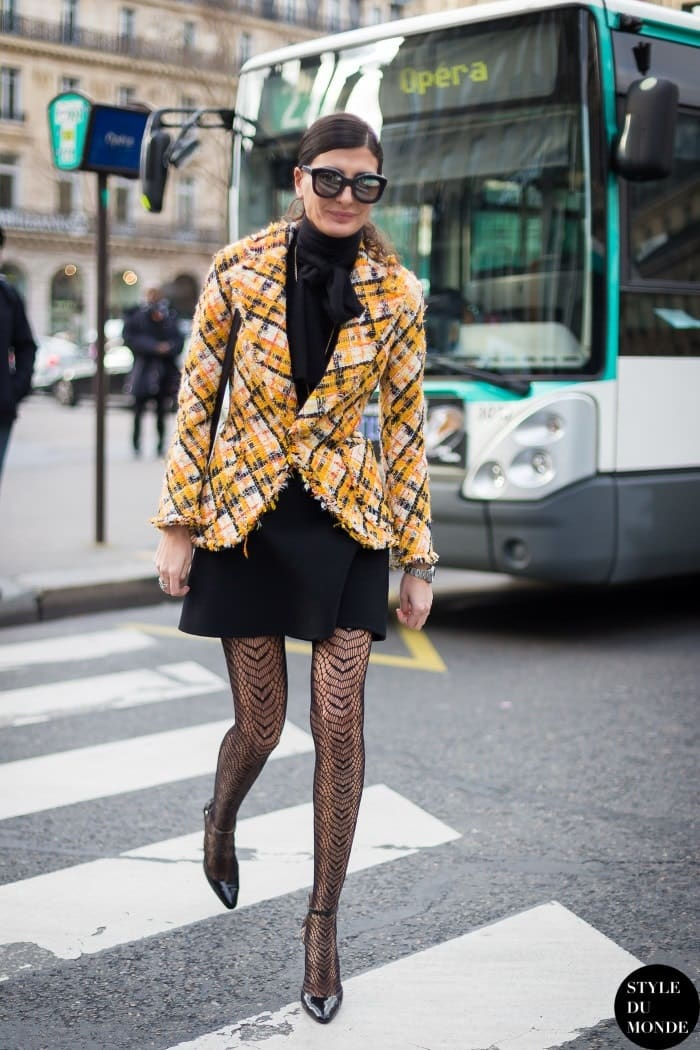 Stylish Tights That Wow, Black dress, yellow plaid blazer and black lace tights