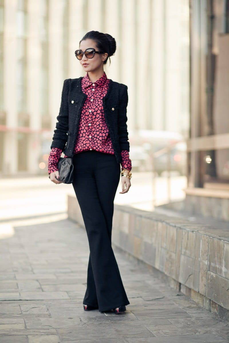 Wendy's Lookbook, interview outfit, print blouse with blazer and black pants