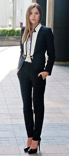 Style Essentials at Every Age, 20's Interview Suit, black and white blazer with black pants