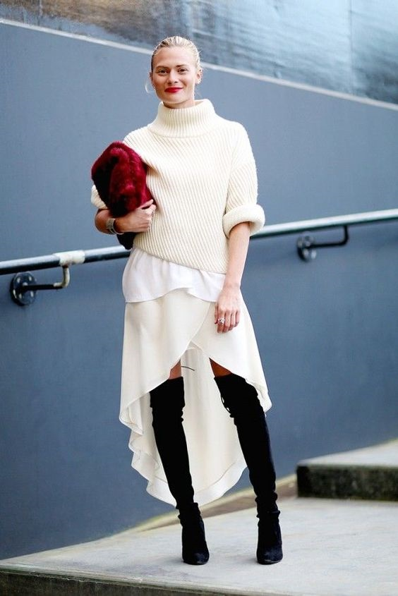 Fall Layering, cream sweater, white top, cream high-low skirt, black thigh high boots