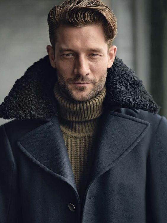 5 Stylish Coats that Completely Change Your Look Men, fur trimmed hood coat with olive turtleneck sweater