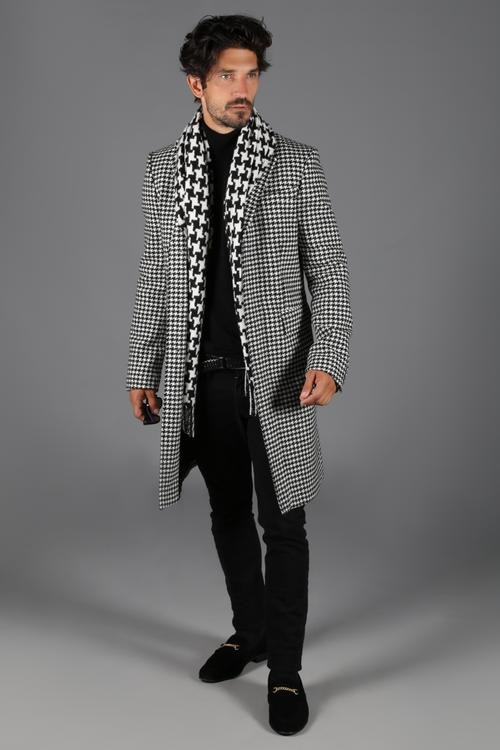 5 Stylish Coats that Completely Change Your Look Men, houndstooth overcoat, white and black men's houndstooth coat