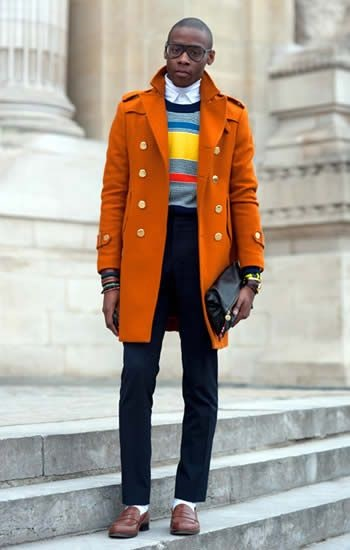 5 Stylish Coats that Completely Change Your Look Men, men's bold color coat, men's orange overcoat, striped sweater